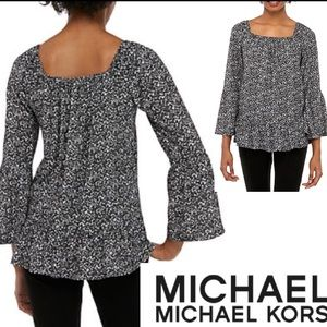 Black White Top MICHAEL Michael KORS Boat Neck